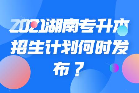 湖南专升本招生计划